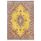 """Pasargad Carpets Persian Qum Collection Hand-Knotted Pure Silk Area Rug, 4' 4"""" X 6' 4"""""""
