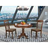 East West Furniture HLML3-MAH-C Dining Set 3 Pc - Linen Fabric Dining Room Chairs Seat – Mahogany Finish Dining Room Table and Frame