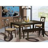 East West Furniture LYBO6-CAP-C 6-Piece Dining Set – Rectangular Top Dining Room Table and Dining Bench – 4 Dining Room Chairs X-Back and Linen Fabric Seat (Cappuccino Finish)