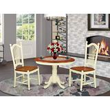 East West Furniture 3-Piece Dinette Set Included a Round Breakfast Table and 2 Kichen Chairs - Cherry Solid Wood Dining Chairs Seat & Slatted Back - Buttermilk Finish