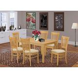 East West Furniture CAVA7-OAK-C Dining Set 7 Piece - Linen Fabric Modern Dining Chairs Seat - Oak Finish Small Rectangular Table and Body