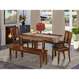 5 Pc Dining room set with bench -Kitchen Table with 2 Dining Chairs and 2 Benches