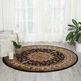 "Nourison Delano Traditional Oriental Persian Black Area Rug, 5'3"" x 5'3"" Round"