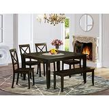 6 Pc Dining room set with bench-Dining table with Leaf and 4 Kitchen chair Plus Bench.