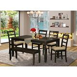 East West Furniture LYPF6-CAP-C 6-Piece Dining Room Set – Rectangular Top Dining Room Table and Wooden Bench – 4 Dining Room Chairs Ladder Back and Linen Fabric Seat (Cappuccino Finish)