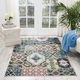 """Nourison Aria Vintage Bohemian Moroccan Patchwork Area Rug, 3 Feet 11 Inches by 5 Feet 11 Inches (3'11"""" x 5'11""""), Indigo/ Blue"""