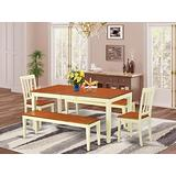 5 Pc Dining room set with bench-Kitchen Tables and 2 Dining Chairs Plus 2 bench