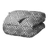 SUPERIOR Trellis Comforter Set with Pillow Shams, Luxurious & Soft Microfiber with Down Alternative Fill, Contemporary Geometric Trellis Design - King/California King Bedding Set, Grey