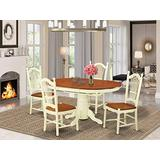 East West Furniture dining table set 4 Wonderful Wooden dining room chairs - A Lovely dining table- cherry Color Wooden Seat cherry and buttermilk Butterfly Leaf wood dining table