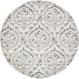 Unique Loom Damask Collection Traditional Floral Ivory Round Rug (8' 0 x 8' 0)
