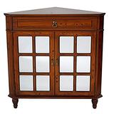 Heather Ann Creations The Vivian Collection Contemporary Style Wooden Double Door Floor Storage Living Room Corner Cabinet with Paned Glass Inserts and 1-Drawer, Cherry