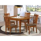 East West Furniture MLPO5-SBR-C 5-Piece Kitchen Dining Set – 4 Dining Chairs and Kitchen Table – Rectangular Table Top – Slatted Back and Linen Fabric Chair Seat (Saddle Brown Finish)