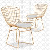 Elle Decor Holly Mid Century Modern Dining Side Chair with Geometric Grid Wire Design, Wide Curved Back, Faux Leather Seat Pad, Gold