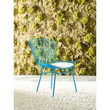 Elle Decor Holly Mid Century Modern Dining Side Chair with Geometric Grid Wire Design Wide Curved Back, Faux Leather Seat Pad, Set of 2, Turquoise