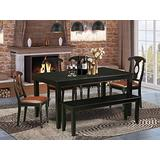 East West Furniture 6-Pc Dinette Set Included a Rectangular Dining Table and 4 Wooden Dining Chairs Plus a Lovely Bench - Cherry Faux Leather Kitchen Chairs Seat & Napoleon Back - Black Finish