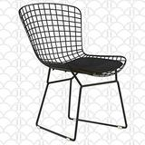 Elle Decor CHRHLYBLKM01 Holly Mid Century Modern Dining Side Chair with Geometric Grid Wire Design, Wide Curved Back, Faux Leather Seat Pad, Black
