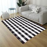 Ukeler Area Rugs for Living Room/Bedroom/Dinning Room, Black and White Plaid Rugs Cotton Hand-Woven Checkered Carpet 47.3''x70.8''