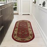 "Ottomanson Collection Traditional Oriental Design Non-Slip Area Rug, 20"" X 59"" Oval, Red Persian, 8 Sq Ft"
