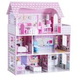 Costway 28 Inch Pink Dollhouse with Furniture