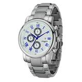 Jorg Gray   Silver Stainless Steel Watch w/Stainless Steel Band   JG7600-34   Silver w/Blue Dial