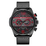 CURREN Men Watch Luxury Brand Army Military Watch Men Leather Sport Watches Quartz Waterproof Wristwatch 8259 (Black Black red)