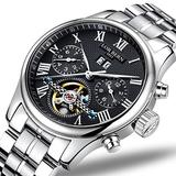 Swiss Brands Mens Automatic Mechanical Wrist Watches Gold Silver Stainless Steel Date Skeleton Watch (Silver Black)