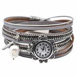 """MINILUJIA Bling Bling Watch Vintage Casual Bohemian Style Women Leather Watch Small Watch Dial Double Wrap Around Watch with Feather Pearl Magnetic Clasp Grey Strap (11.8"""")"""