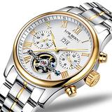 Swiss Brands Mens Automatic Mechanical Wrist Watches Gold Silver Stainless Steel Date Skeleton Watch (Gold White)