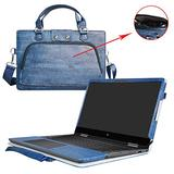 """Envy x360 15 Case,2 in 1 Accurately Designed Protective PU Leather Cover + Portable Carrying Bag for 15.6"""" HP Envy x360 15 15m-bp000 15m-bq000 Series Laptop(Not Fit 15-w000/15-aq000/15-ar000),Blue"""