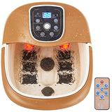 Giantex All in One Foot Spa Bath Massager w/Heating & Surfing, 6 Motorized Maize Roller, Bubbles Jets &Vibration Water Fall, Deep Foot Bath Massager w/Remote Controller, Digital Time Temper Set
