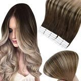 Full Shine Seamless Tape in Hair Extensions Color 4 Medium Brown Fading to 18 Ash Blonde Balayage Hair Extensions 22 Inch Double Sided Skin Weft Hair Extensions 50 Gram Glue in Hair Extensions 20 Pcs