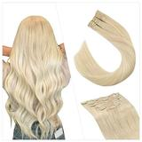 Ugeat Blonde Hair Clip in Extension Human Hair Clip Ins 7PCS Remy Hair Thick Extensions #60 Human Hair Clip in Extensions 18 Inch Remy Human Hair Clip in Extensions