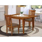 East West Furniture MLPO3-SBR-C 3-Pc Dining Set – 2 Dining Room Chairs and Dining Table - Rectangular Table Top – Slatted Back and Linen Fabric Chair Seat (Saddle Brown Finish)