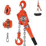 "Happybuy Manual Lever Block Chain Hoist 6600 lbs, Chain Come Along 20 feet, Chain Hoist 3 Ton, Ratchet Chain Hoist 5/16"" Diameter for Warehouse Garages Construction"