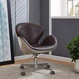 New Pacific Direct Duval PU Leather Swivel Chair,Aluminum Legs,Distressed Java Brown