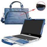 """Asus C302CA Case,2 in 1 Accurately Designed Protective PU Leather Cover + Portable Carrying Bag for 12.5"""" Asus Chromebook Flip C302CA C302CA-DHM4 C302CA-DH54 Laptop,Blue"""