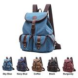 Queenie - Canvas Causal Daypack Laptop Backpack College Campus School Bags for Wowen Ladies Girls (Sky Blue Large Size)