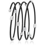 Women's Classique Stainless Steel And 18k White Gold Wrap Bracelet - Black - Black - Alor Bracelets