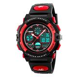 Waterproof Watch for Boys, Very Sturdy Multi Function Watch Waterproof Kids Watch Outdoor Sports Watches LED Watches for Kids Red