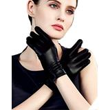 YISEVEN Women's Winter Dress Leather Gloves Touchscreen Wool Lined Flat Design Classic Genuine Sheepskin Warm Fur Lining Long Cuff Ladies Driving Work Accessories Thanksgiving Gifts, Black Small/6.5""