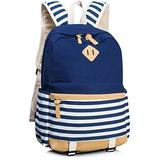 Leaper Cute Navy Style School Laptop Backpack Girls Striped Canvas Bookbag Blue