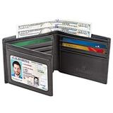 Men's Bifold Wallet - RFID Blocking Cowhide Leather Vintage Travel Wallet (Nappa black-Smooth top grain leather)