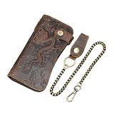LUUFAN Men's Genuine Leather Long Wallet Chain Wallet, Engraved Bifold Wallet