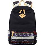 Black Canvas School Bag Backpack Girls, Mygreen Bohemia Boho Style Unisex Fashionable Canvas Zip Backpack School College Laptop Bag for Teens Girls Students Casual Lightweight Travel Daypack Outdoor