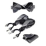 HISDERN Mens Check Stripe Suspenders and Bowtie Set Y Back 6 Clips Adjustable Braces with Pocket Square For Wedding Party