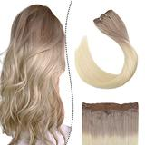 Ugeat Halo Hair Extensions Seamless 14Inch Blonde Ombre Halo Hair Extensions Real Human Hair 70Gram Remy Halo Hair Extensions Real Human Hair Real Hair Halo Extensions