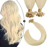 Ugeat 24 Inch Pre Bonded U Tip Hair Extensions Human Hair Blonde Hair Extensions Fusion Hair Extensions Nail Tip Extensions for Women 1g/1strand 50G/set