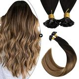 Ugeat Flat Tip Human Hair Extensions 18 Inch Hot Fusion Hair Extensions Human Hair 50Gram Keratin Tip Hair Extensions Human Hair Balayage #2/6/12 Fusion Hair Extensions Blonde with Brown