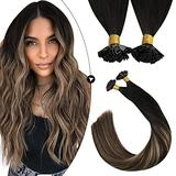 """Ugeat Pre Bonded Hair Extensions Human Hair Hot Fusion Hair Extensions 20"""" Black Hair Extensions #1B Fading to Brown Mixed with Blonde Hair #27 Fusion Hair Extensions 1g/1s 50G"""