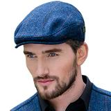 Men's Donegal Tweed Flat Cap - Traditional Style, Modern Fashion Item - Blue, XL